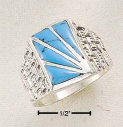 STERLING SILVER JEWELRY MEN'S TURQUOISE SUNBURST RING SIZES 9-13  (sr270)