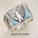 STERLING SILVER JEWELRY MEN'S EAGLE W/ DOUBLE TRIANGLE TURQUOISE & SQUARED SHANK SIZES 9-13 (sr272)