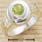 STERLING SILVER JEWELRY 5MM ROUND INSET PERIDOT RING SIZES 6-9 (cr350)