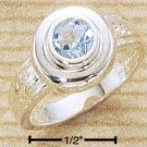 STERLING SILVER JEWELRY 5MM ROUND INSET BLUE TOPAZ RING SIZES 6-9 (cr351)
