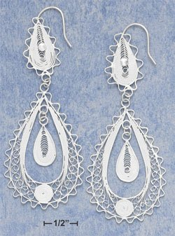 "STERLING SILVER FILI TEAR W/ LG FILI TEAR DANGLE & SM INNER TEAR FW EARS (APROX 3"") (xx4134)"