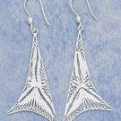 "STERLING SILVER LARGE WHIMSICAL FILIGREE TRIANGLE FRENCH WIRE EARRINGS (APPROX 3"")  (xx4133)"
