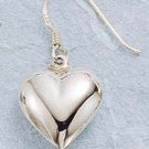 STERLING SILVER JEWELRY HP PUFFED HEART DANGLE EARRINGS (ea11)