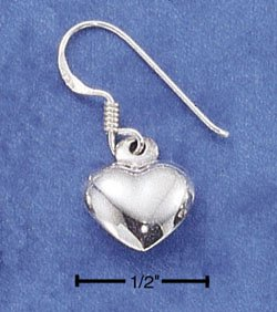 STERLING SILVER JEWELRY SMALL HP PUFF HEART DANGLE EARRINGS (ea12)