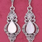 STERLING SILVER FANCY VICTORIAN MARCASITE POST DANGLE EARRINGS W/ GENUINE MOP TEAR (mer92)