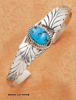 STERLING SILVER SINGLE TURQUOISE STONE CUFF BRACELET W/ 2 LARGE LEAVES (20MM WIDE) (br2132)