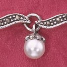 "STERLING SILVER 7.5"" MARCASITE ""S"" LINK BRACELET W/ SYNTHETIC PEARL DANGLES  (mbr19)"
