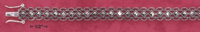 "STERLING SILVER 7"" LACY SCALLOPED MARCASITE BRACELET (mbr31)"