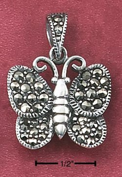 STERLING SILVER MARCASITE BUTTERFLY PENDANT W/ MARCASITE BAIL (mpn87)