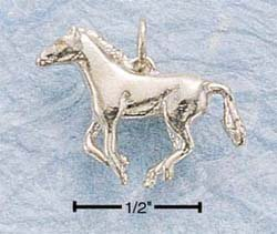 STERLING SILVER SMALL SIDE VIEW GALLOPING HORSE CHARM (3D) (ch138)