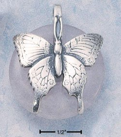 STERLING SILVER BUTTERFLY ON ROSE QUARTZ DONUT PENDANT (cx218)