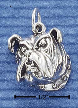 STERLING SILVER JEWELRY BULLDOG FACE CHARM (ch1013)
