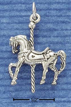 STERLING SILVER JEWELRY 3D CAROUSEL HORSE CHARM (ch1041)