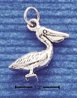 STERLING SILVER JEWELRY 3D PELICAN CHARM (ch1045)