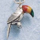STERLING SILVER TOUCAN W/ THREE COLOR STONE BILL CHARM (MAL-CORAL-SPINY OYSTER) (ch602)