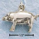 STERLING SILVER JEWELRY SMALL FAT PIG CHARM (ch694)
