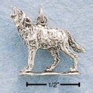 STERLING SILVER JEWELRY HOWLING WOLF CHARM  (ch699)