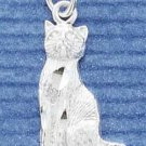 STERLING SILVER JEWELRY SATIN/DC SITTING CAT CHARM (ch1089)