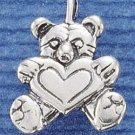 STERLING SILVER JEWELRY TEDDY BEAR W/ HEART CHARM  (ch1312)