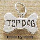 "STERLING SILVER DOG BONE W/ ""TOP DOG"" INSCRIBED CHARM (ch1495)"