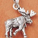 STERLING SILVER JEWELRY SMALL STRUTTING MOOSE CHARM (ch1802)