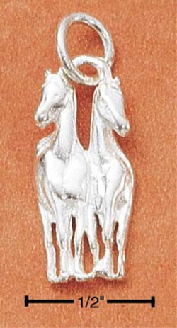 STERLING SILVER JEWELRY DOUBLE HORSES CHARM (ch1804)