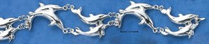STERLING SILVER DOUBLE SWIMMING DOLPHIN LINK BRACELET (br168)