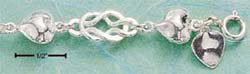 "STERLING SILVER 7"" PUFF HEART & KNOTTED LOOP BRACELET (br565)"