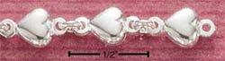 STERLING SILVER JEWELRY PUFFED HEART LINK BRACELET (br708)