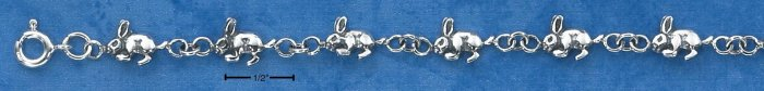 "STERLING SILVER JEWELRY 7"" TINY BUNNY BRACELET (br1014)"