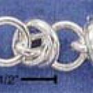 "STERLING SILVER 7.25"" SINGLE ROUND PLUS DOUBLE ROUND LINKS BRACELET (br1604)"