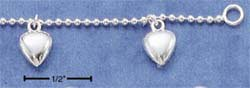 "STERLING SILVER 7"" FINE BEAD CHAIN W/ DANGLING HEART CHARMS BRACELET (br1684)"
