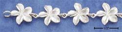 "STERLING SILVER JEWELRY 7"" SATIN FINISH FLOWER LINK BRACELET (br1692)"