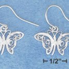 STERLING SILVER JEWELRY FILIGREE BUTTERFLIES ON FRENCH WIRE EARRINGS  ( ea3782 )