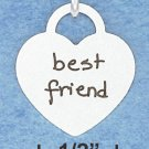 STERLING SILVER JEWELRY BEST FRIENDS HEART INSCRIBED WITH BRUSHED FINISH CHARM  ( ch3765 )