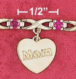 """STERLING SILVER JEWELRY VERMEIL 7"""" 3MM SYN RUBY & """"X"""" LINK BRACELET WITH 12MM MOM HEART TAG (br2898)"""