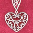 STERLING SILVER JEWELRY HP 13MM HEART W/HEART SHAPE BAIL BOTH W/ FANCY INSCRIBE SCROLLS (ch3577)