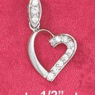 STERLING SILVER JEWELRY HP 12MM OPEN HEART CHARM W/CZ MARQUIS BAIL  (ch3610)
