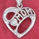 "STERLING SILVER JEWELRY RP 27MM HEART PENDANT WITH ""MOM"" BANNER & 4MM CLEAR CZ HEART (ch3617)"
