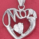 "STERLING SILVER JEWELRY RP 21MM ""MOM"" HEART PENDANT WITH 6MM CLEAR CZ HEART (ch3618)"