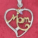 "STERLING SILVER JEWELRY RP TT 17MM ""MOM"" OPEN HEART PENDANT WITH CZ AND GEMSTONE FLOWER (ch3622)"