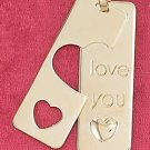 "STERLING SILVER JEWELRY  11X30MM ""I LOVE YOU TAG"" W/HEART COVER-UP TAG PENDANT (2PCS) (ch3631)"