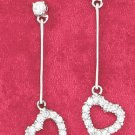 "STERLING SILVER JEWELRY  HP 1 1/2"" CZ POST EARRING W/ BAR AND OPEN CZ HEART DANGLE (ea3557)"