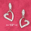 STERLING SILVER JEWELRY  HP OPEN HEART EARRING W/CZ ON HALF OF HEART W/ MARQUIS CZ POST (ea3558)