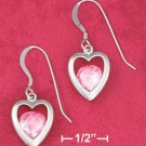 STERLING SILVER JEWELRY  RP 12MM OPEN HEART FRENCH WIRE EARRINGS W/ PINK CZ (ea3582)