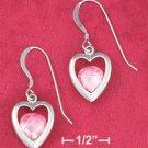 STERLING SILVER JEWELRY  RP 12MM OPEN HEART FRENCH WIRE EARRINGS W/ PINK CZ (ea3582)