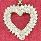 """STERLING SILVER JEWELRY  VERMEIL 18"""" CABLE NECKLACE W/ DOUBLE 22MM OPEN HEART PENDANT (nk1069)"""