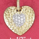 "STERLING SILVER JEWELRY  18"" VERMEIL 19MM HAMMERED HEART PENDANT W/ 9MM PAVE CZ HEART (nk1094)"