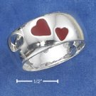 STERLING SILVER JEWELRY  9MM BAND WITH RED ENAMEL HEARTS  (sr2273)