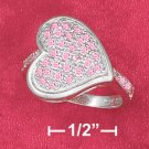 STERLING SILVER JEWELRY  RP SIDEWAYS 14M PINK PAVE CZ HEART RING W/ PARTIAL CZ SHANK (sr2808)